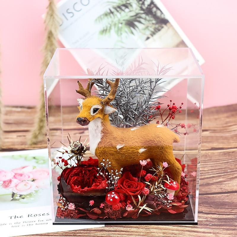 Cerf de noël Fée Acrylique Conservé Fleur Boîte Rose Fleurs Créatifs de Saint-Valentin Cadeau pour Petite Amie Cadeaux de Fête