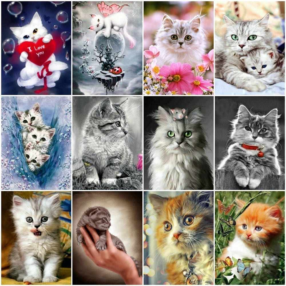 Huacan 5D Diamond Painting Full Square Cat Rhinestones Pictures Animals Diamond Embroidery Diamond Mosaic Sale Cartoon Beadwork