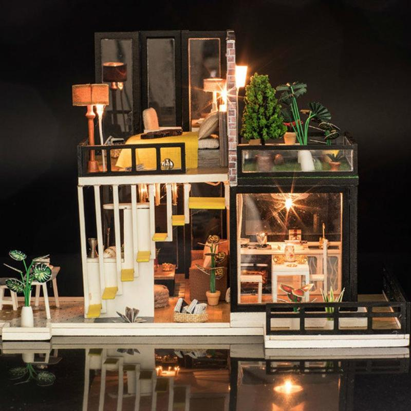 Assemblage bâtiment modèle jouet maison de poupée en bois maison de poupée miniature à monter soi-même Kit de meubles artisanat cadeau d'anniversaire pour 3 + Y enfants