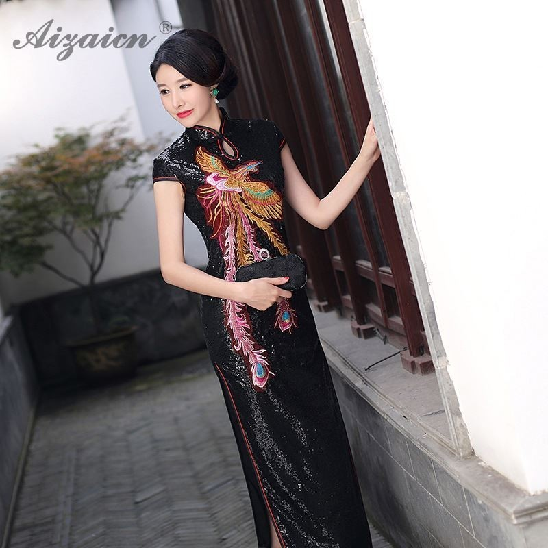2019 Oriental Vintage paillettes Qi Pao broder Cheongsam chinois Robe Qipao Robe Orientale Style robes noir Robe Chinoies