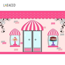 Laeacco Pink Backdrop Cartoon Shop Baby Girl princess Photography Backgrounds Customized Photographic Backdrops For Photo Studio