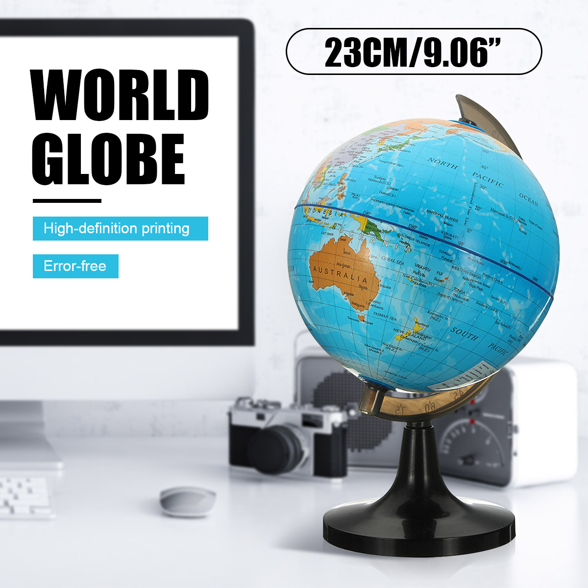 14cm Terrestrial World Globe Earth Map Geography Education Toy Map With Rotating Stand Home Decoration Office Ornament