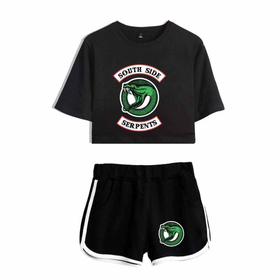 Riverdale Two Piece Set Summer Sexy Cotton Printed T Shirt Album Woman New Suit Shorts Crop Riverdale Fashion Tops+Shorts 2019