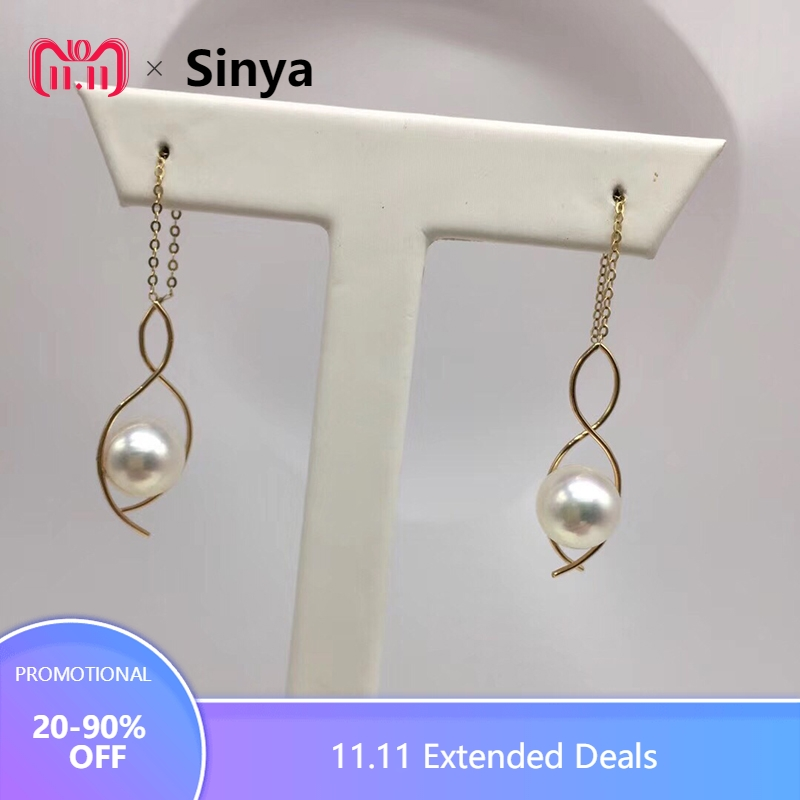 все цены на Sinya Au750 18k gold S design earring Round high luster Akoya pearls long chain tassel design dangle earring for women ladies онлайн