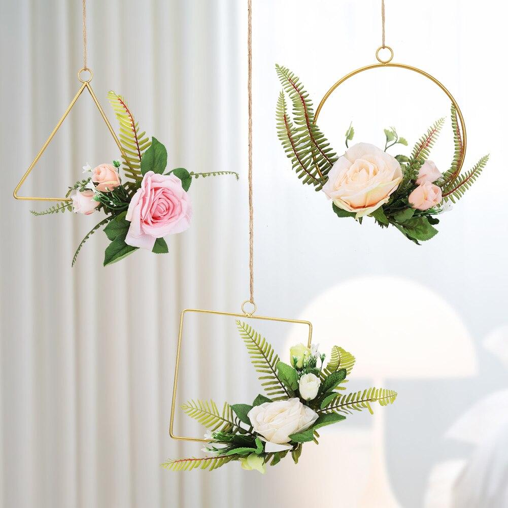 Home & Garden Garden Supplies Art Wall Hanging Basket Artificial Rose Flower Plant Rattan Home Garden Decor Flower Pot Holder Display Lifting Rope Wall Art Moderate Price