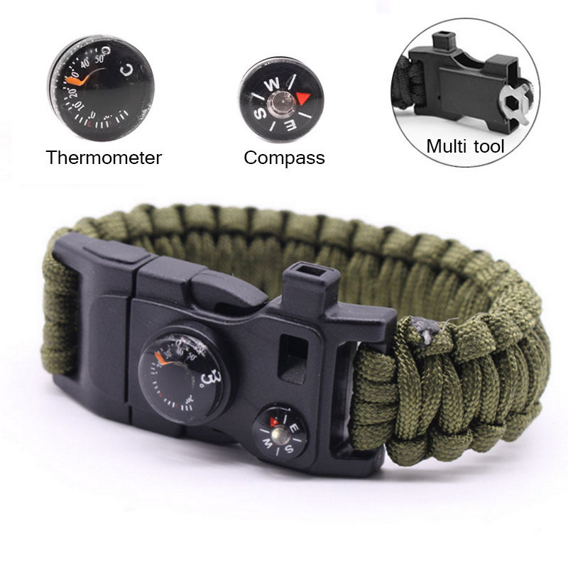 Multi-functional Paracord Survival Bracelet Camping Outdoor Survival Gear Whistle Lifesaving Compass Thermometer Umbrella Rope