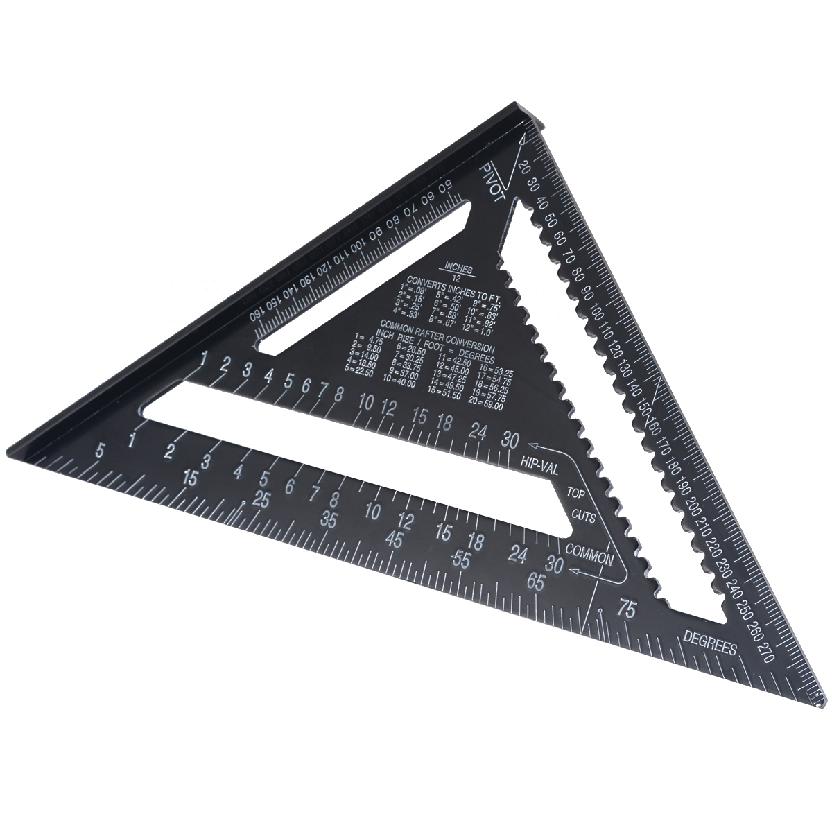 """Angle Ruler 12"""" Metric Aluminum Alloy Triangular Measuring Ruler Woodwork Speed Square Triangle Angle Protractor Measuring Tool"""