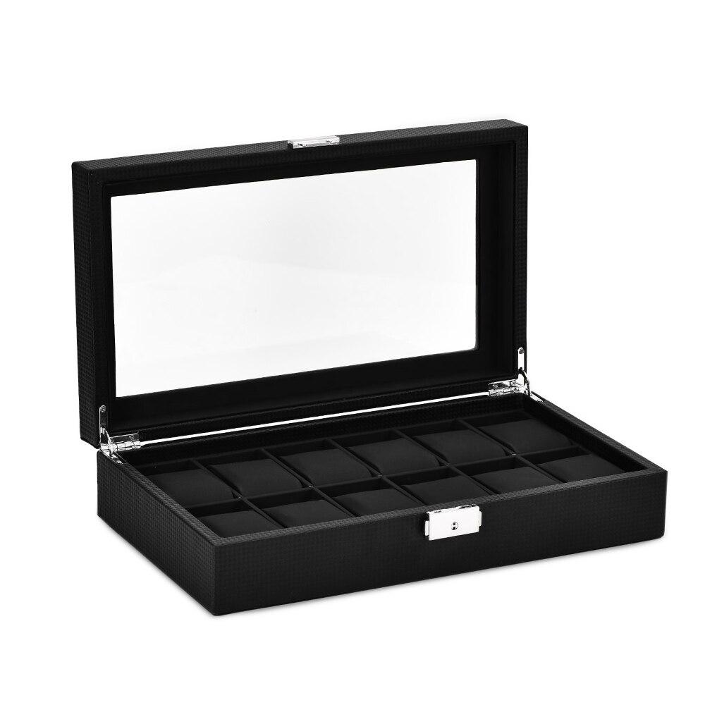 Boîte de présentation pour organiseur de montre à 12 fentes boîte de rangement pour bijoux en cuir en Fiber de carbone avec serrure et couvercle en verre