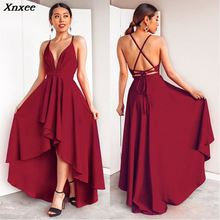 купить 2018 New Pattern High Low Dresses Backless Criss-Cross Sexy V-neck Special Occasion Party Gown Cheap Robe De Soiree недорого