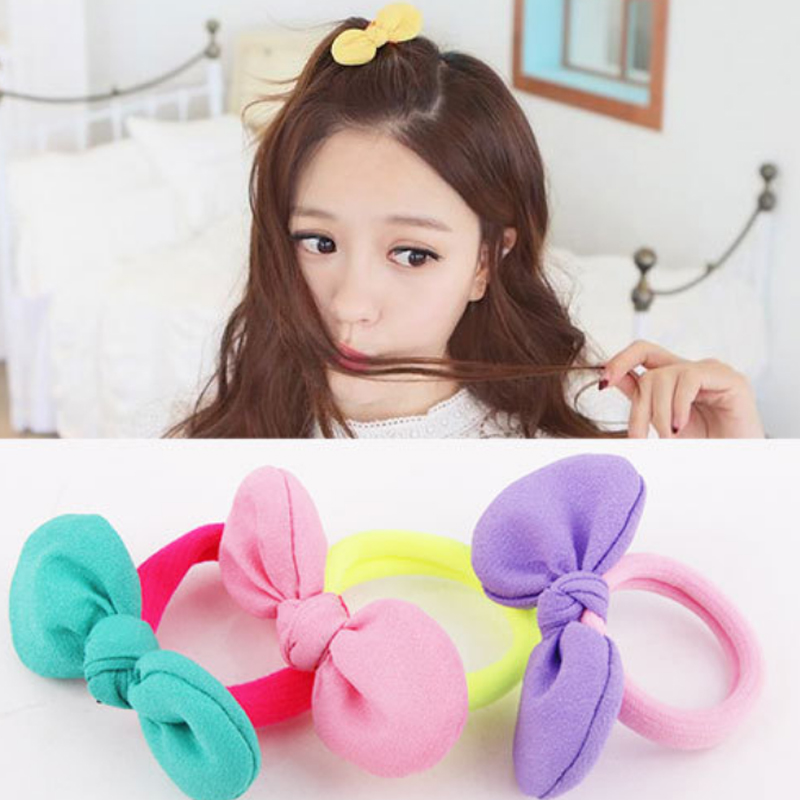 9 Colors Cotton 2020 New Arrival Adjustable Candy Color Girls Allergy Free Bowknot Women Chiffon Hair Rope Elasticity 1Pair