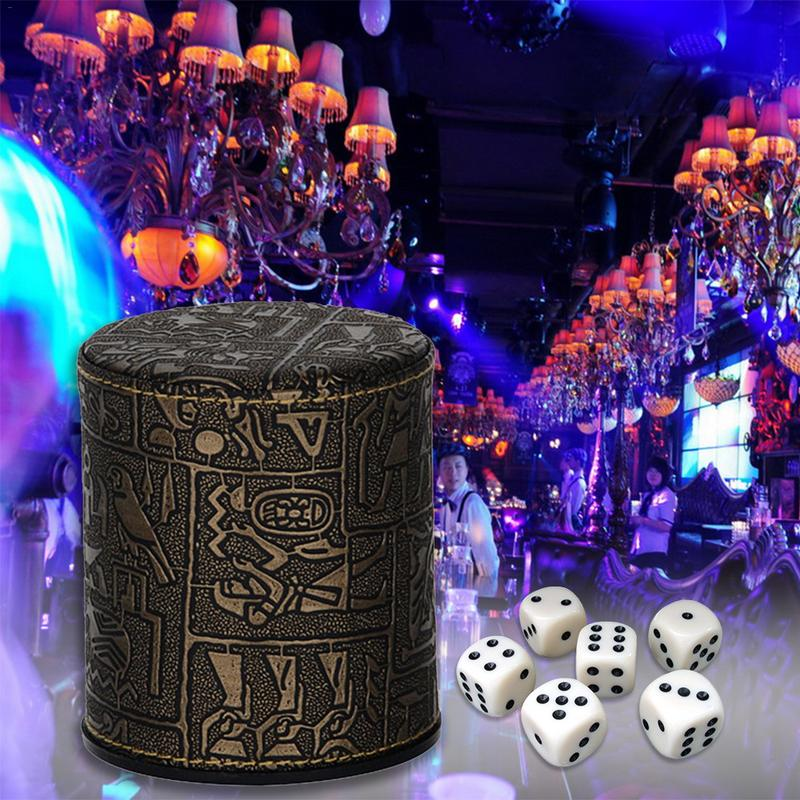Egyptian Pattern Leather Straight Dice Cup For Bars (Without Base & Dice)