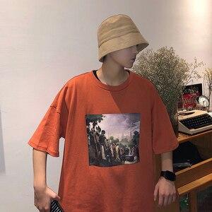 Image 3 - 2019 Zomer Koreaanse Versie Van De Campus Mode Trend Paar mannen Korte mouwen Casual Losse Ronde Hals Print sport T shirt