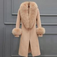 Women Wool Blends Coats Fur Collar Winter Fashion Belt Overcoat Office Ladies Elegant Luxury Gray Camel Coat Outwear