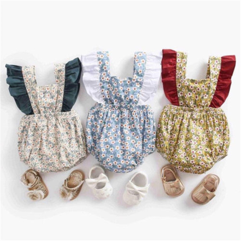 Newborn Baby Girl Floral Print Sleeveless   Romper   Backless Bow Jumpsuit Toddler Outfits Sunsuit Summer Cotton Girls Clothes