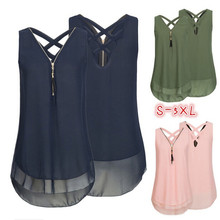 Women Summer Sleeveless Blusas Zipper Criss Cross Chiffon Shirt Fashion V-Neck Blouse Tank Tops Plus Size S-5XL