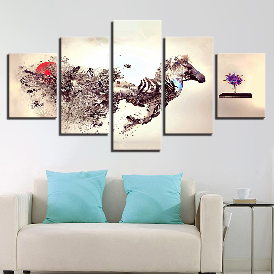 Modular Poster HD Printed Wall Art Framework Pictures Home Decor 5 Panel Abstraction Horse Living Room Modern Canvas Painting in Painting Calligraphy from Home Garden