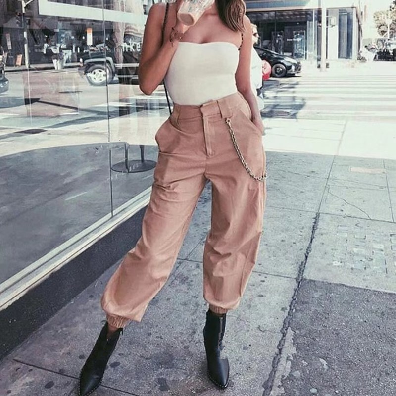 2018 Loose Women Pocket Chain Cargo   Pants   Solid Hip Pop High Waist Harem Trousers Causal   Wide     Leg     Pants
