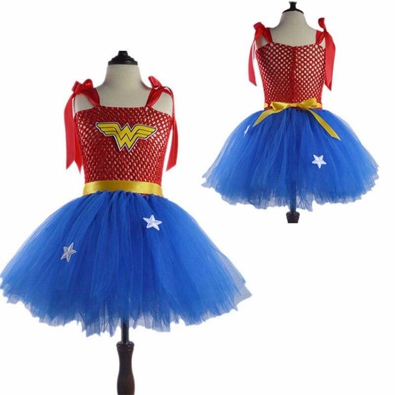 Girls Superhero Cosplay Dress Halloween Captain Costume Wedding Birthday Party Superman Sleeveless Rainbow Princess Lace Dress