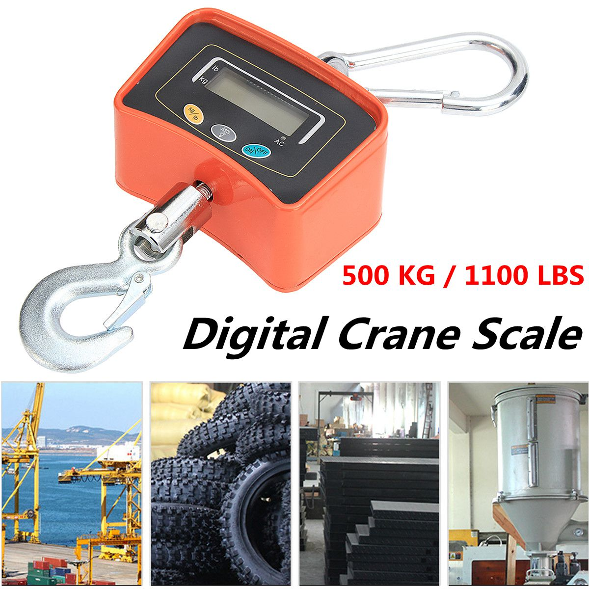 500KG/1100 LBS Digital Crane Scale 110V/220V Heavy Industrial Hanging Scale Electronic Weighing Balance Tools - 2