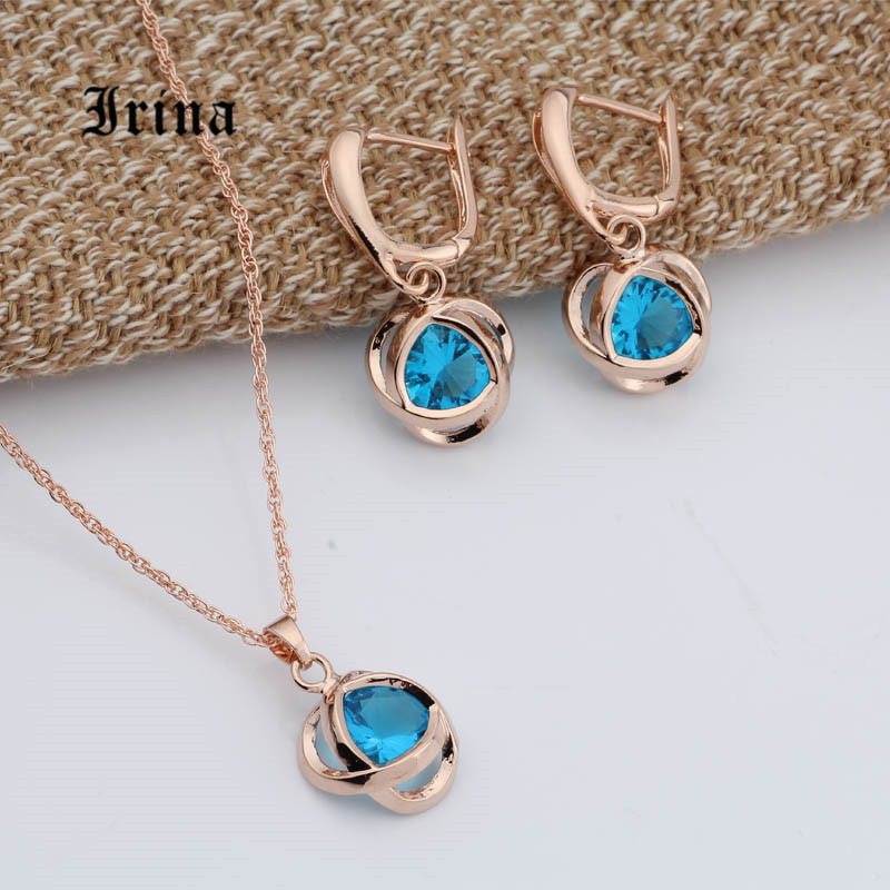 Irina Wedding Accessories Charming Fashion Jewelry Set Women Yellow Gold Color Chain Necklace Earrings Set Zircons Jewelry Sets