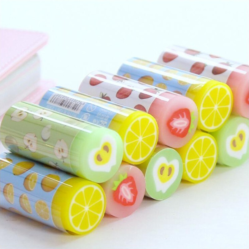 Pencil Rubber Eraser Cylindrical Different Colored Mixed Soft Office Stationery And School Supplies Eraser 1PCS
