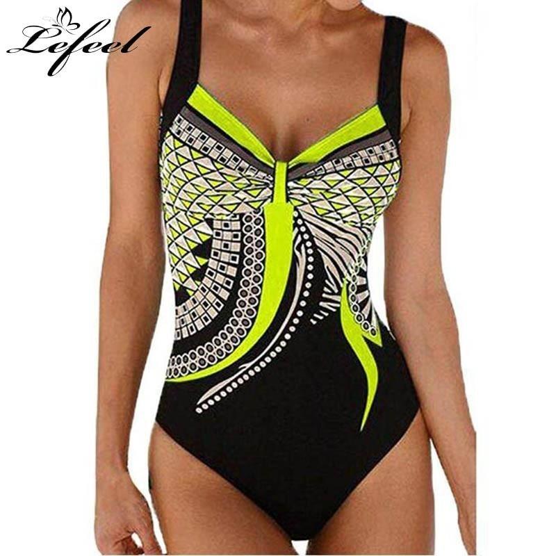 Lefeel Women Swimwear Retro Print One Piece Swimsuit Sexy Backless Bikinis Plus Size Beach Wear New Bathing Suit Monokini Novelty & Special Use