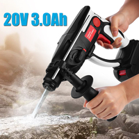 20V Cordless Hammer Drill 3000mAh Rechargeable Lithium Battery DC Hammer Power Drill Industrial Electric Power Tool + LED Light