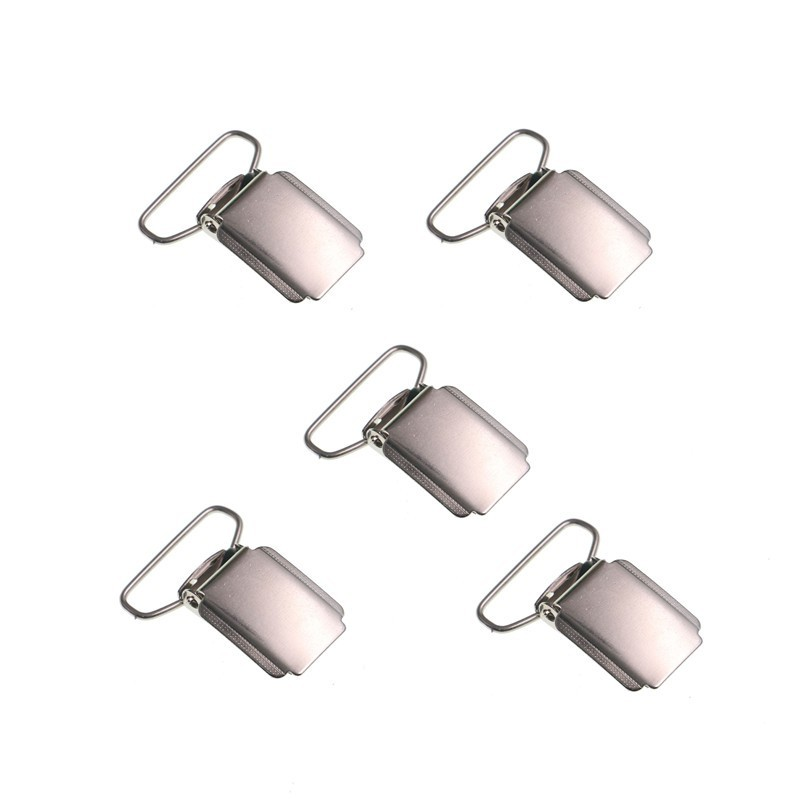 5pcs/lot DIY Suspender Clip Silver Metal Pacifier Clip Unisex Kid Adult Common Clip 25mm Strong Closure Non Slip