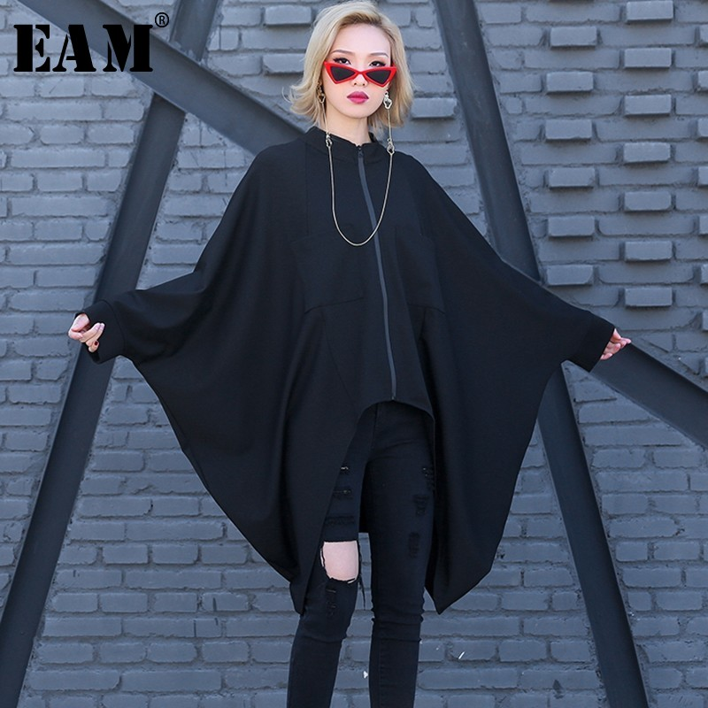 [EAM] 2019 Новый Весна Лето Стенд воротник длинный рукав летучая мышь черный нерегулярный подол большой размер футболка женская мода прилив JO014