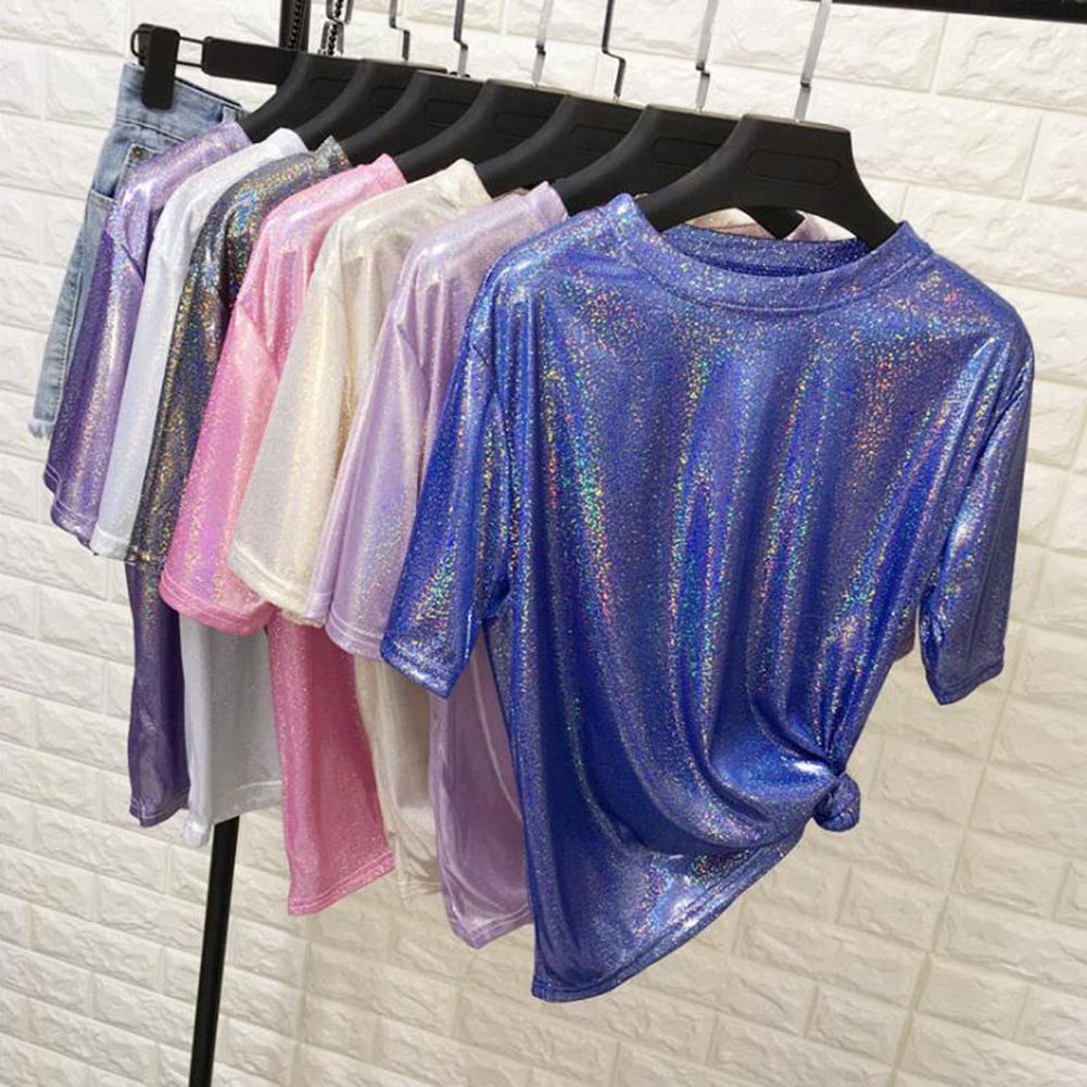 Fashion Women's T-Shirts Shiny Summer Short Sleeve Shirts Tops Party O-Neck Ladies Sexy Sequined Pink White T-shirts Casual Tees