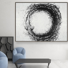 Modern Black and White Circle Oil Painting on Canvas 100% Hand-Painted Large Size Wall Art Abstract