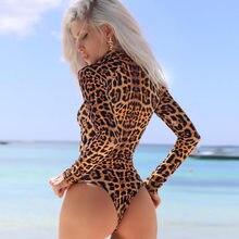 d6f698a335 Women tight sex jumpsuit new zipper button collar long sleeve leopard sex  bodysuit jumpsuits for women Sexy Slim Short bodysuit