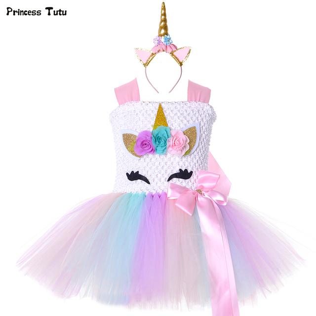 Pastel Flower Girls Unicorn Tutu Dress Princess Girl Masquerade Birthday Party Dress Children Kids Purim Halloween Costume 1-14Y