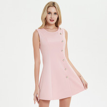 Uguest Women Pink Elegant Dress Sleeveless Mini Dresses With Button Sexy Party Summer