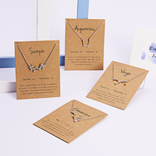 12 Constellation Zodiac Sign Necklace For Women Gold Silver Jewelry Leo Libra Aries Pendant Horoscope Astrology Necklace stylish lucky clover constellation style pendant necklace aries
