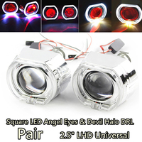 1 Pair 2.5 Square LED Angel Eyes Red Devil Demon Eye Halo DRL Bi Xenon Lens Car Projector Headlight HID Auto Tuning Kit H4 H7
