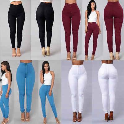 Женские узкие Стрейчевые повседневные джинсы скинни брюки с высокой талией