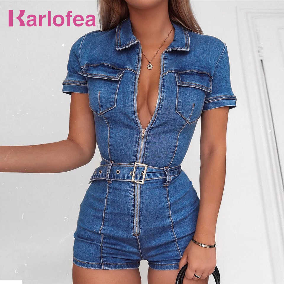 2a3dbdf3971 Karlofea Women Sexy Jeans Rompers Spring Outfits Short Jumpsuit Stretch  Denim Club Bodycon Playsuit Casual Daily