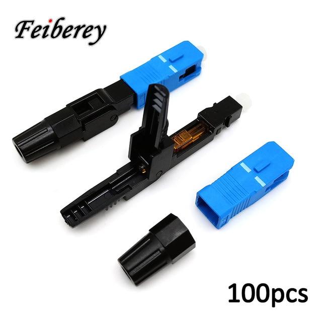 100pcs SC UPC Fiber Optic Quick Connector FTTH SC New Quick Singlemode SC/UPC Optical Fiber Fast Connector for CATV FTTH Project