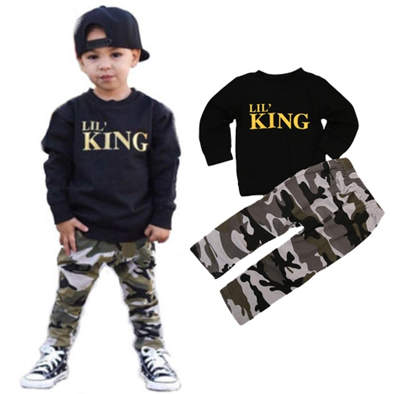 2pcs Toddler Boy Clothes Kids Baby Boy Fall Outfit Long Sleeve Black Sweatshirt Pullover Camouflage Pants Gold Letter Lil King