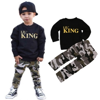2pcs Toddler Boy Clothes Kids Baby Boy Fall Outfit Long Sleeve Black Sweatshirt Pullover Camouflage Pants Gold Letter Lil King Boys Clothing Sets