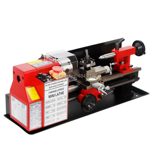 Image 3 - 550W Mini high Präzision DIY Shop Tisch Metall Drehmaschine Werkzeug Maschine Variabler Geschwindigkeit Fräsen 100mm chuck 350mm arbeits länge