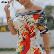 купить 2018 Autumn Women Elegant Sexy Bodycon Mini Party Dresses Ladies Off Shoulder Bird Pattern Striped Tape Splicing Dress Xnxee по цене 1006.74 рублей