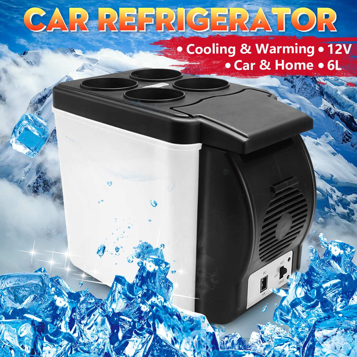 Car Mini Fridge 12V 6L Compact Car Refrigerator Electric Drink Cooler and Warmer For Traveling Camping