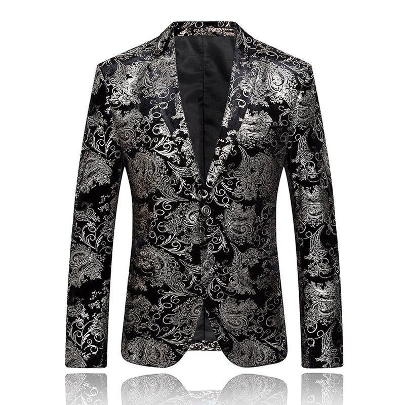 Hommes mode or estampage costume Blazer robe formelle hauts Vogue homme luxe deux boutons Slim Fitness costume vestes homme