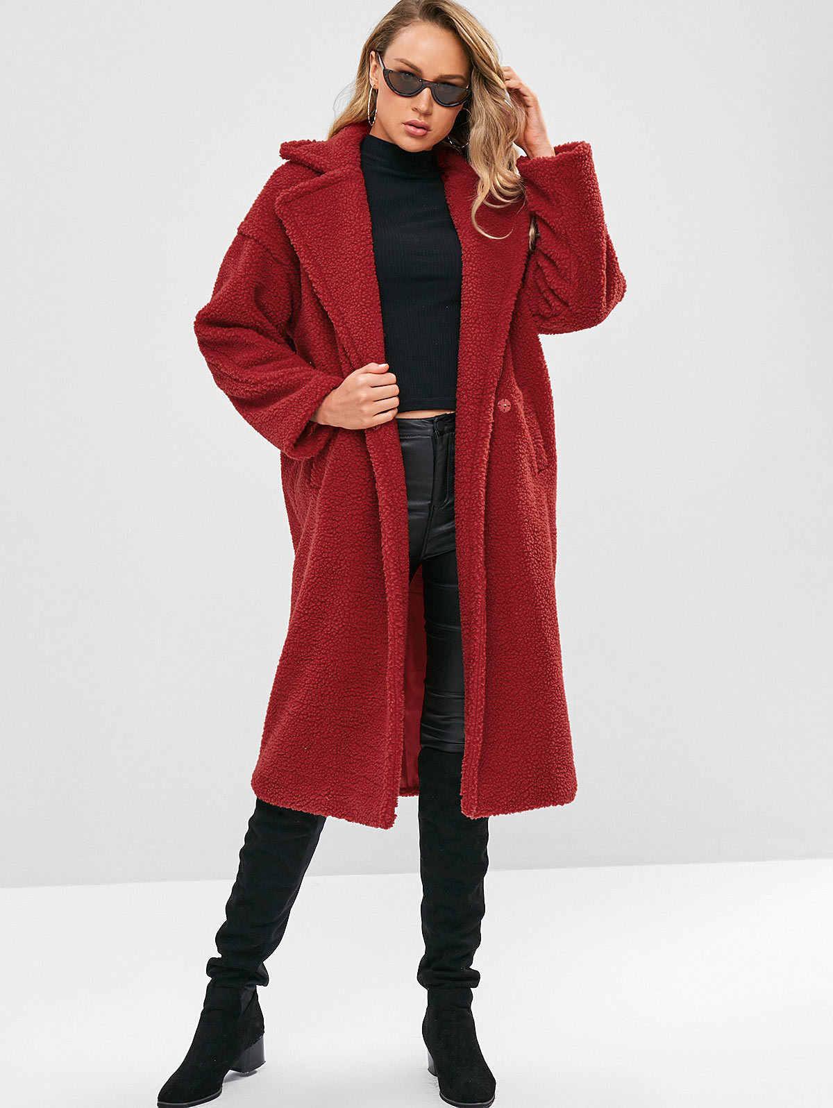 Женское осенне зимнее теплое пальто из искусственного меха с воротником стойкой
