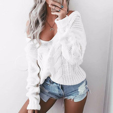 Sexy Women Sweater 2018 Autumn V Neck Long Sleeve Loose Casual Pullovers Sexy One Shoulder White