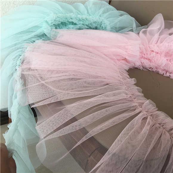 17 см широкая розовая плиссированная аппликация из шифонового Кружева Лента отделка края для DIY шитье девушки юбка женское свадебное платье бахрома подол Декор