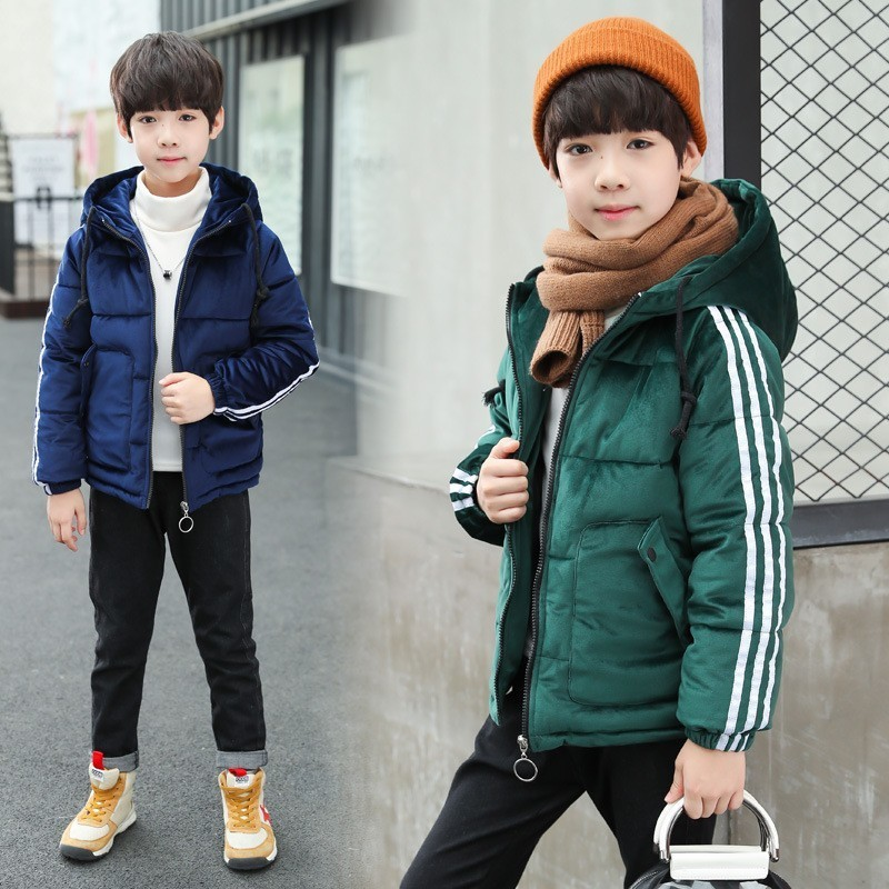 New 2018 Winter Padded For Teenage Boys Thick Warm Velour Jacket With Hooded Parkas Kids Clothes Children Solid Cotton Coat Tops 2018 new winter big girls warm thick jacket outwear clothes cotton padded kids teenage coat children faux fur hooded parkas p28