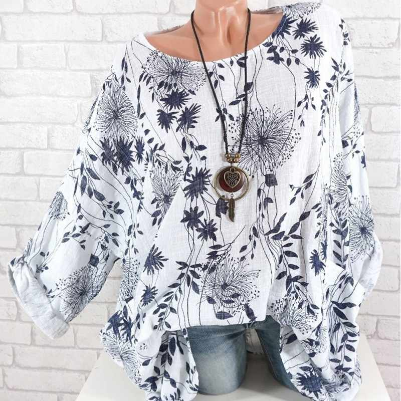 2019 Floral Print For Women O-Neck Summer Casual Fashion Top Tee Shirt Long Sleeve Femme T-shirt White Grey Blue Female T Shirt
